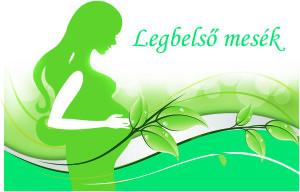 Беременная девушка на зеленом фоне